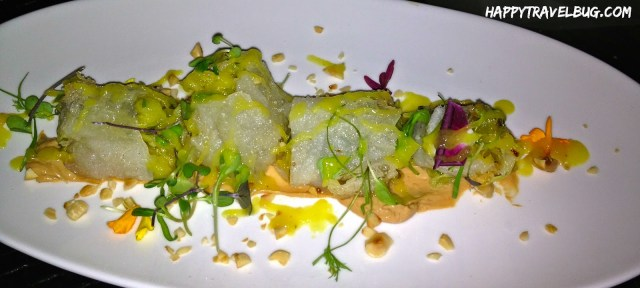 Mango-Papaya Imperial Roll at Aureole in Las Vegas
