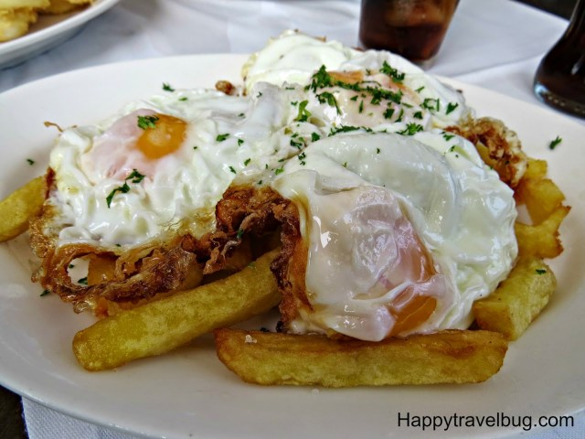 Fried egg on french fries from Trobador in Barcelona, Spain