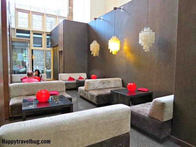 Lobby area at Olivia Plaza Hotel in Barcelona, Spain