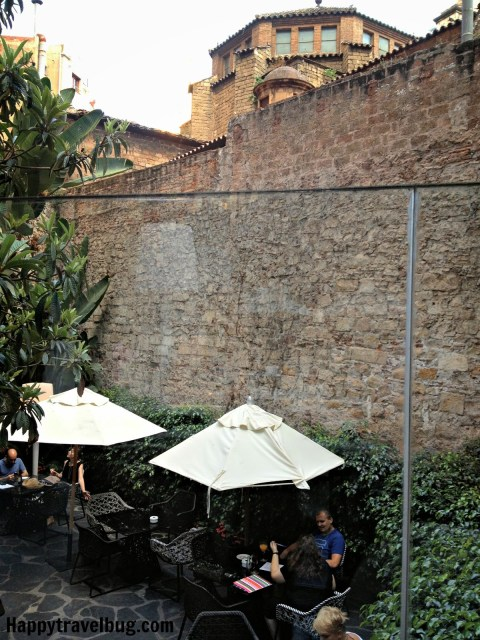 Outdoor seating at Nineteen restaurant in Olivia Plaza Hotel, Barcelona, Spain