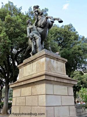 Statue in Catalunya Plaza, Barcelona, Spain