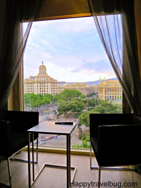 View of Catalunya Plaza from our hotel room (Olivia Plaza Hotel) in Barcelona, Spain