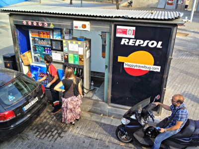 World's smallest gas station in Barcelona, Spain