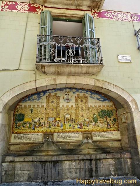 Mosaic tile fountain in Barcelona, Spain