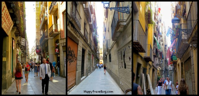 The tiny street of the gothic quarter in Barcelona, Spain