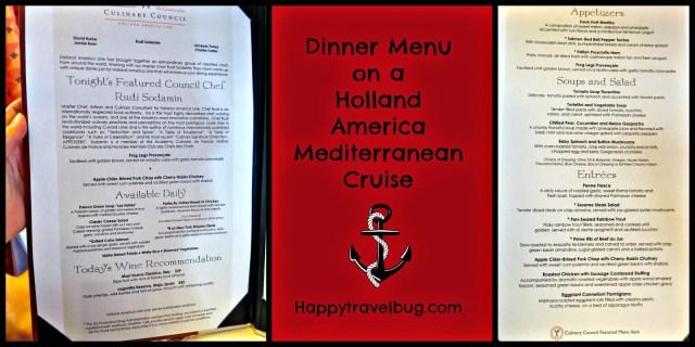 Dinner menu on our Holland America Mediterranean Cruise