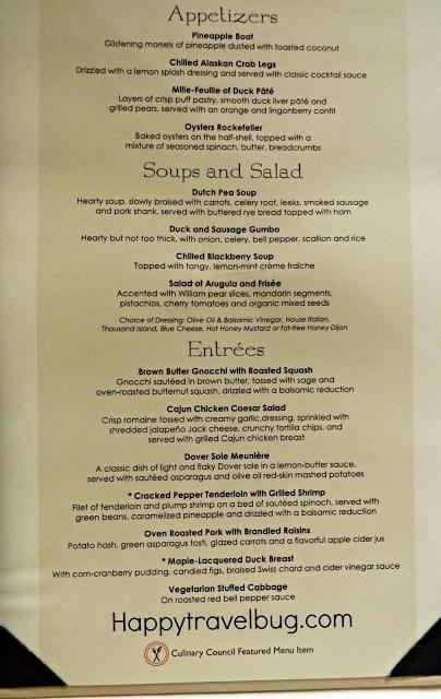 Dinner menu on a Holland America Cruise