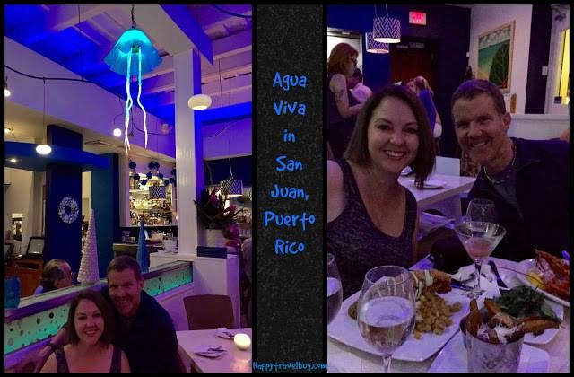 Agua Viva restaurant for our anniversary dinner in San Juan, Puerto Rico