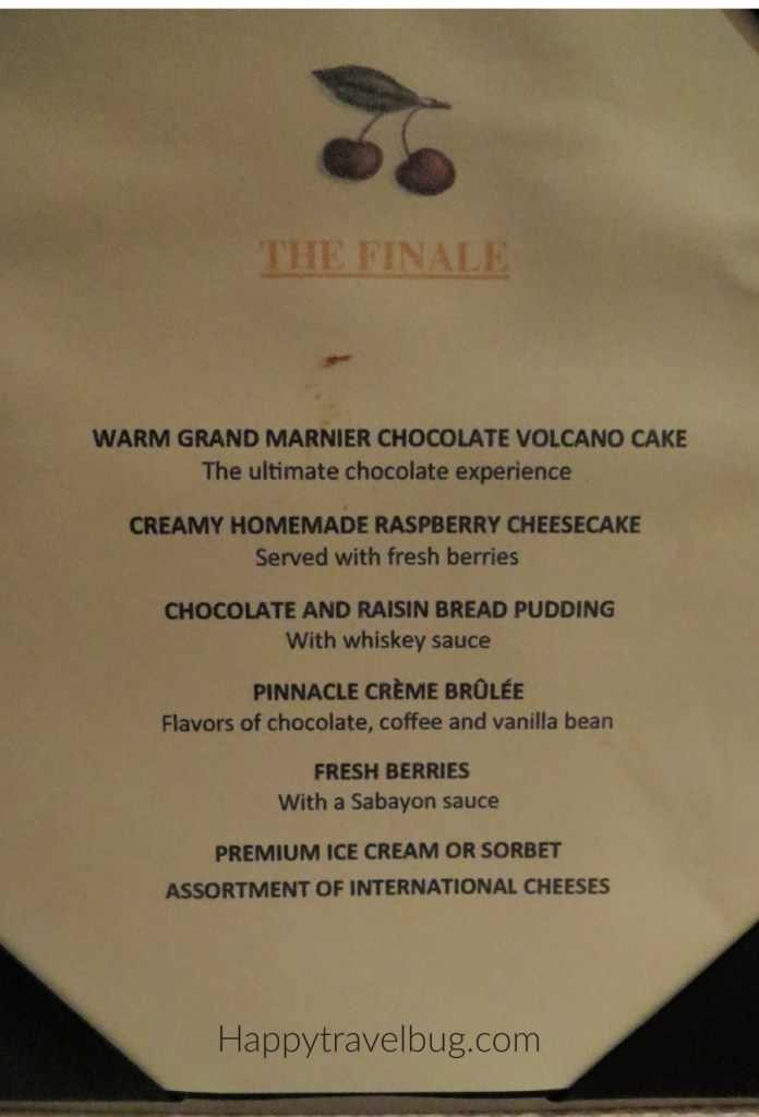 Dessert menu at the Pinnacle Grill on Holland America Cruise Line