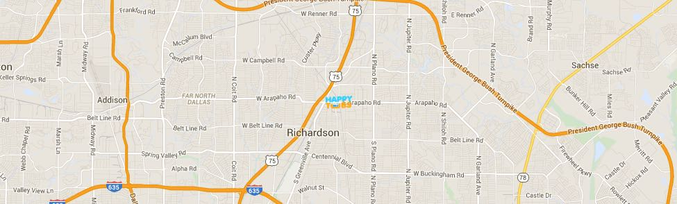 Happy Tubs Location Map - 500 East Arapaho Road #305 Richardson, TX 75081
