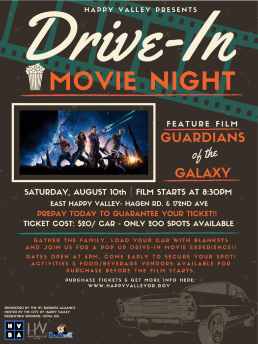 Drive In Movie Night | City of Happy Valley