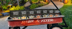 Red Wagon filled with Happy Valley Soups