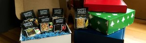 Happy Valley Soups and gift boxes under tree
