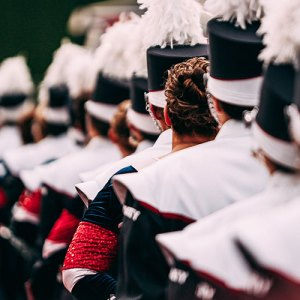 Marching Band standing in row for competition
