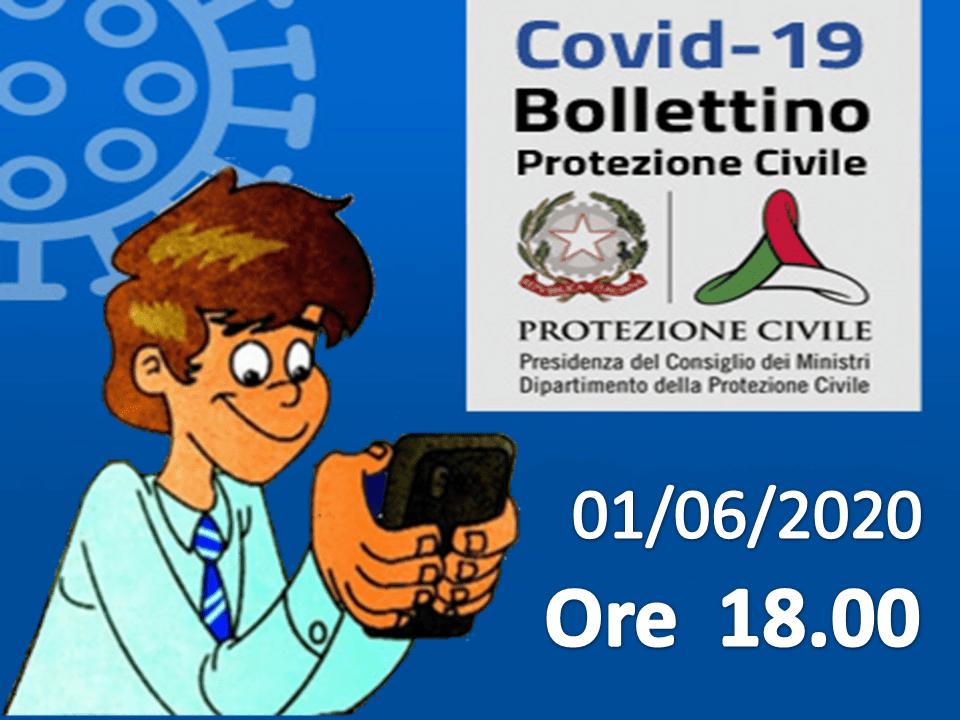 Bollettino Covid-19: i casi in Italia alle ore 18 del 01 giugno