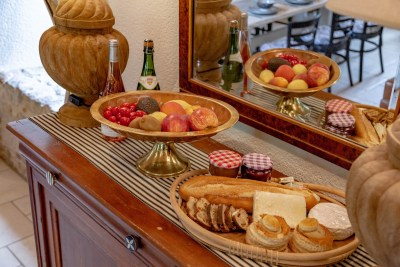 Display of fruit and pastries