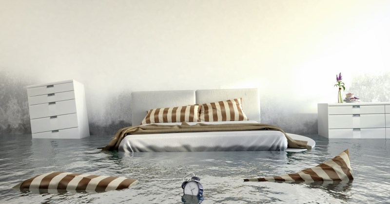 Interior of home flooded. Be protected from disaster with flood insurance.