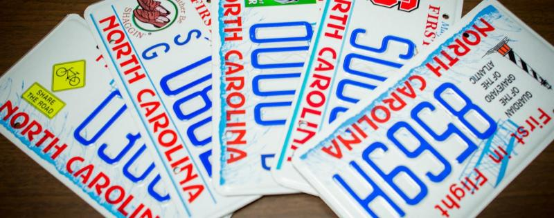North Carolina License Plate options available at license plate agency.