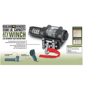 3500 lb ATVUtility Electric Winch with Automatic Load