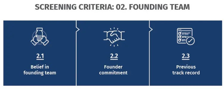 Screening criteria: Founding team