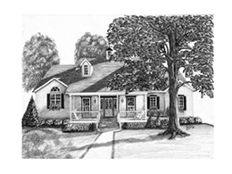 An artists pencil drawing of house with trees in front and back yards.