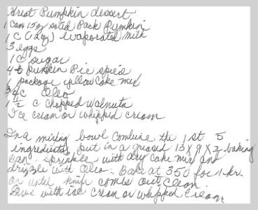 A black and white handwritten recipe for a pumpkin dessert