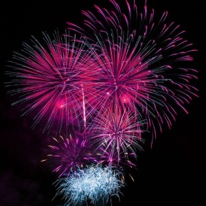 Bright pink and blue fireworks on display against a dark black night sky