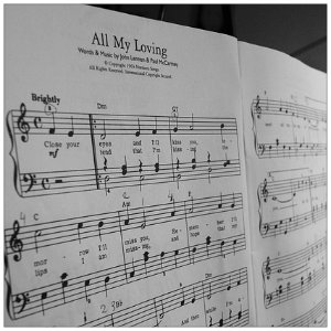 Black and white piece of sheet music with title All My Loving