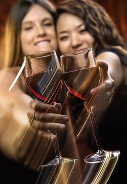 Two ladies smiling and clinking wine glasses with red wine