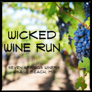 Purple grapes on a vine in a vineyard with text Wicked Wine Run
