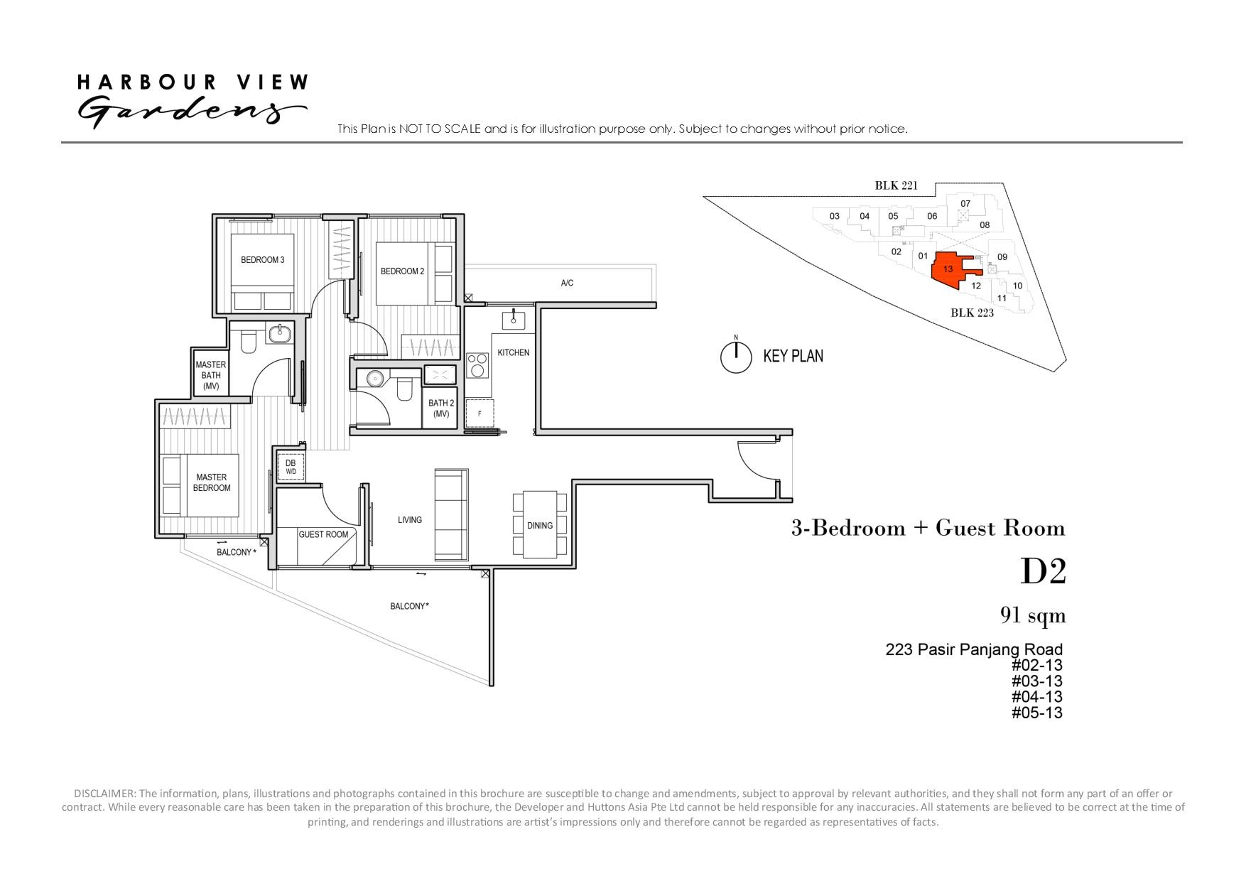Harbour View Gardens 3 Bedroom + Guest Floor Plans Type D2