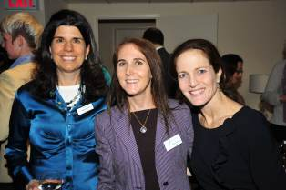 Nancy M. Williams at a May 2013 Hearing Health Foundation reception with Board Chair Shari Eberts (HBS 1993) and Board member Rebecca Ginzburg