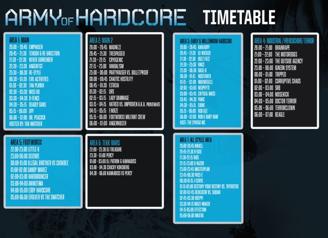 Army of Hardcore - Timetable