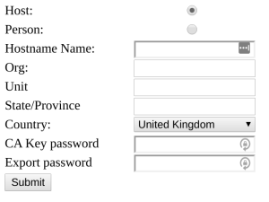 A web form collecting data for a certificate