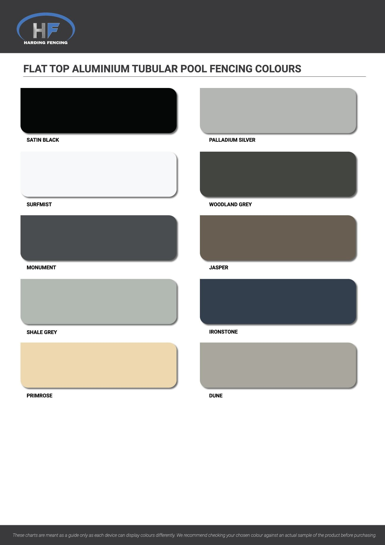 Flat Top Aluminium Pool Fencing colour chart