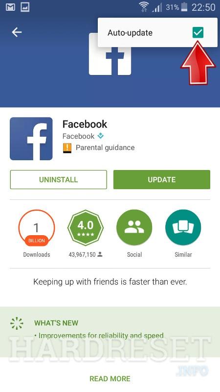 Actualización automática de Facebook