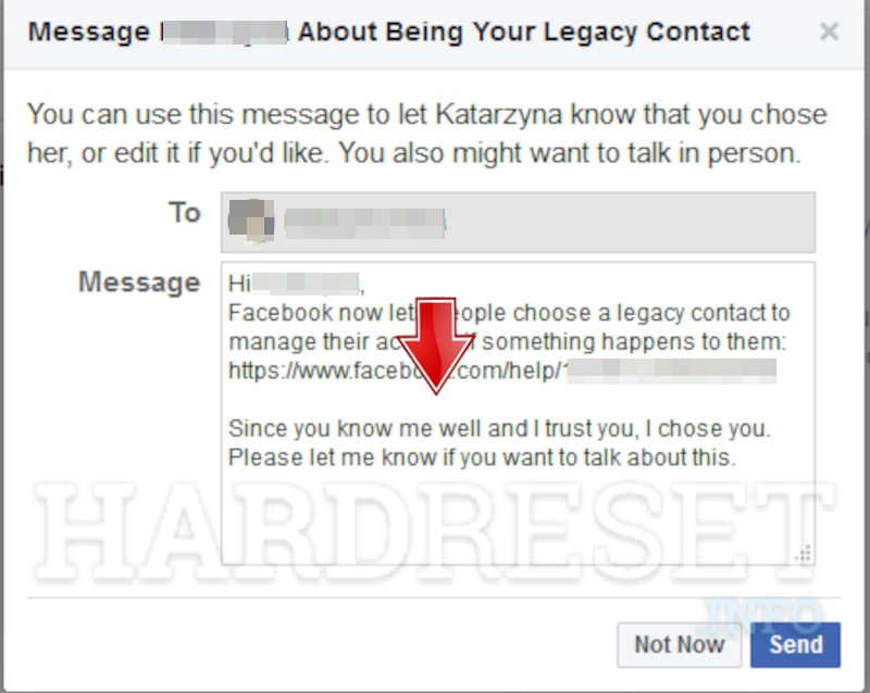 Messenger Message About Legacy Contact
