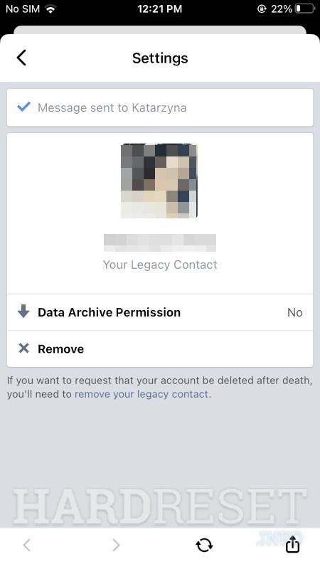 Messenger Legacy Contact Settings