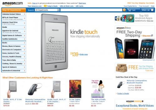 Home page da Amazon.com, destacando seu leitor de ebooks Kindle