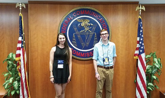 (Left to right): East Hardy High rising Senior Makayla Perry and Moorefield High rising Senior Hunter Ayers visit the Federal Communications Commission during the 2016 Foundation for Rural Service Youth Tour in Washington, D.C.