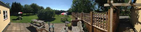 A panoramic view of our beer garden