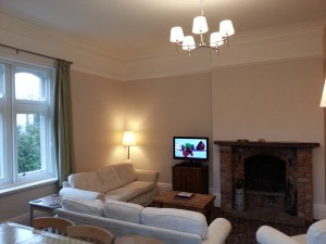 Balmoral's living room without the pine cladding