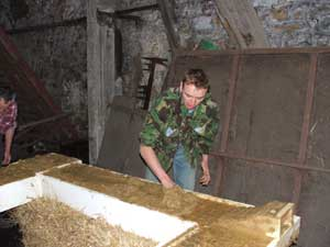 spreading the clay for the well dressing