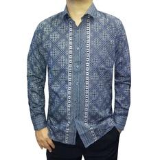 Model Baju Batik Muslim Pria Lengan Panjang Warna Biru Kalem
