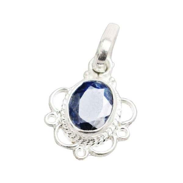 Blue Sapphire (Neelam Gemstone) 7.25 Ratti Pendant in Pure Silver