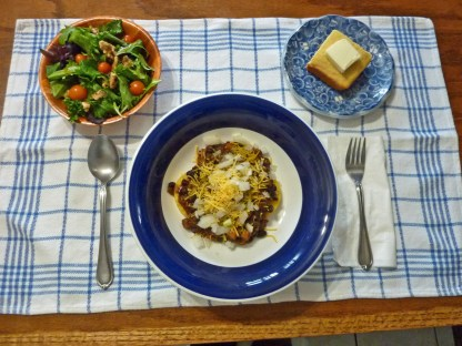 Organic Vegan Sprouted Black Bean Chili, salad and fresh baked cornbread