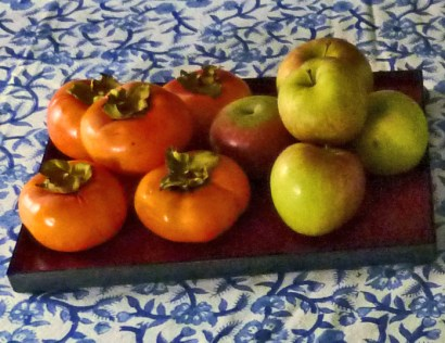 Homegrown Fuyu persimmons and Fuji apples