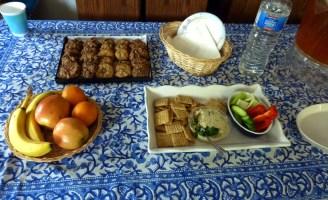 Homemade Vegan Boursin Cheese with assorted crackers; Homemade chocolate chip Pecan Cookies.