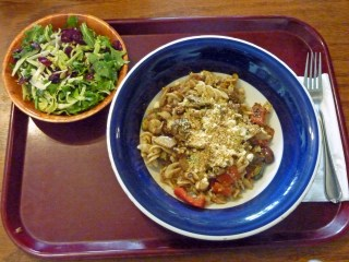 Quinoa-Brown Rice Fusilli with Tomato Pesto and Veggies, kale salad