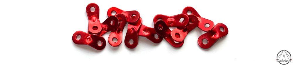 Rode geanodiseerde aluminium platte tentspanners voor scheerlijnen